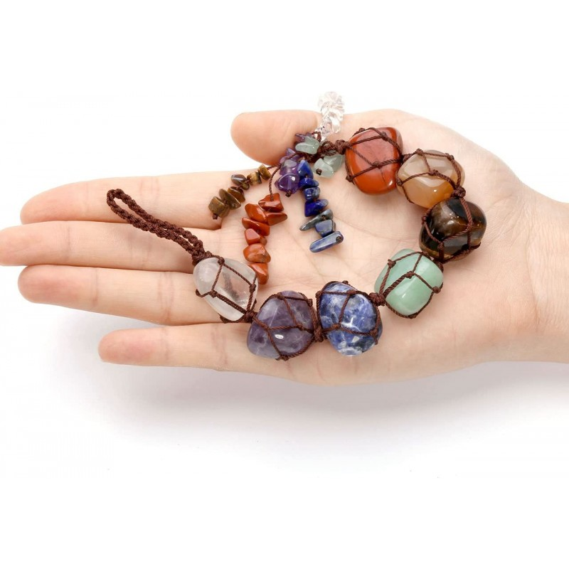 7 Chakra Gemstones Reiki Healing Crystals Hanging Ornament Home Indoor Decoration for Good Luck,Yoga Meditation,Protection
