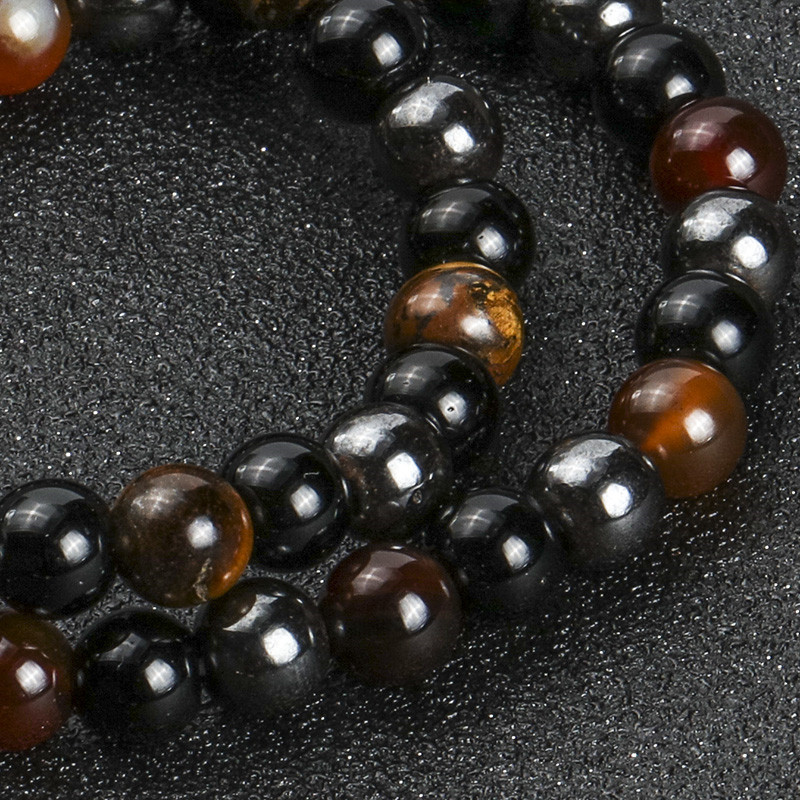 Triple Protection Bracelet - For Protection - Bring Luck And Prosperity - Hematite - Black Obsidian - Tiger Eye - Stone Bracelets